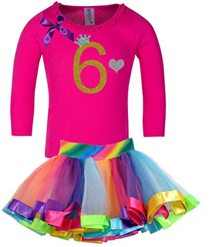 Bubblegum Divas Little Girls' 6th Birthday Rainbow Tutu Outfit Long Sleeve 6X - Disco Theme Party Outfits