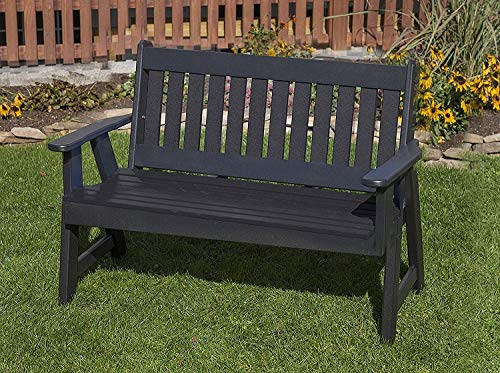 - Jur_Global Outdoor Patio Garden Lawn Exterior Black Finish 4Ft-Poly Lumber Mission Porch Bench Heavy Duty Everlasting -Amish Crafted