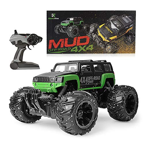 Gizmovine Mud Monster Pickup Remote Control RC Truck RC Car 1:16 Scale Rechargeable with Mud Splatter Paint Job (Green)