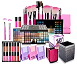 SHANY Holiday Exclusive All in One Makeup Set - Includes 12PC Makeup Brush Set, Eyeshadow Palette Makeup Set, 12PC Lipgloss Set, Cosmetics Brush Holder & Skin Care - Limited Quantities - COLORS VARY
