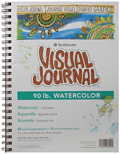 "Strathmore 400 Series Visual Watercolor Journal, 90 LB 9""x12"" Cold Press, Wire Bound, 34 Sheets"