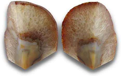 Amazon Com Things2die4 Light Brown Natural Crystal Brazilian Agate Geode Bookends 4 7 Pounds Home Kitchen