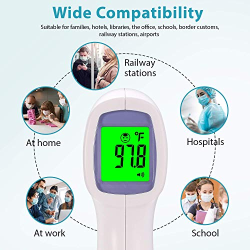【US Stock Arrived 3-6 Days】Forehead Thermometer for Fever, Non Contact Infrared Thermometer for Adults and Kids, Accurate Instant Readings, LCD Digital Display, Fever Alarm