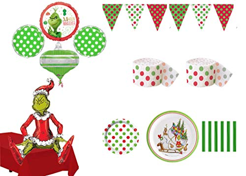 The Grinch Who Stole Christmas Party Pack for 16 Guest with Balloons & Grinch Greeter -