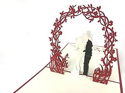Boda Tarjeta de deseos matrimonio pareja con flores arco rojo ...