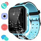 Kids Waterproof Smart Watch Phone - Children Water Resistant GPS Tracker Watch with Call Talkie Walkie Games Sports Wristband Christ-mas Gifts for Boys Girls (01 S7 Blue)