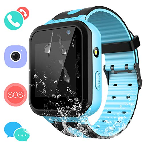 Phone Built In Gps - Kids Waterproof Smartwatch with GPS Tracker - Boys & Girls IP67 Waterproof Smart Watch Phone with Camera Games Sports Watches Back to School Supplies Grade Student Gifts (01 S7 Blue Waterproof Watch)