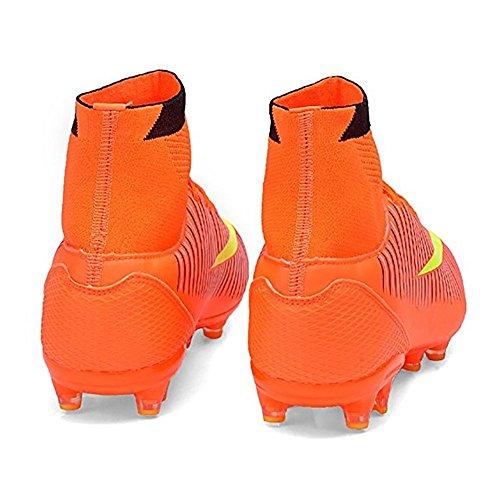ASHION Botas de Fútbol para Hombre Equipo de deportes al aire libre Naranja