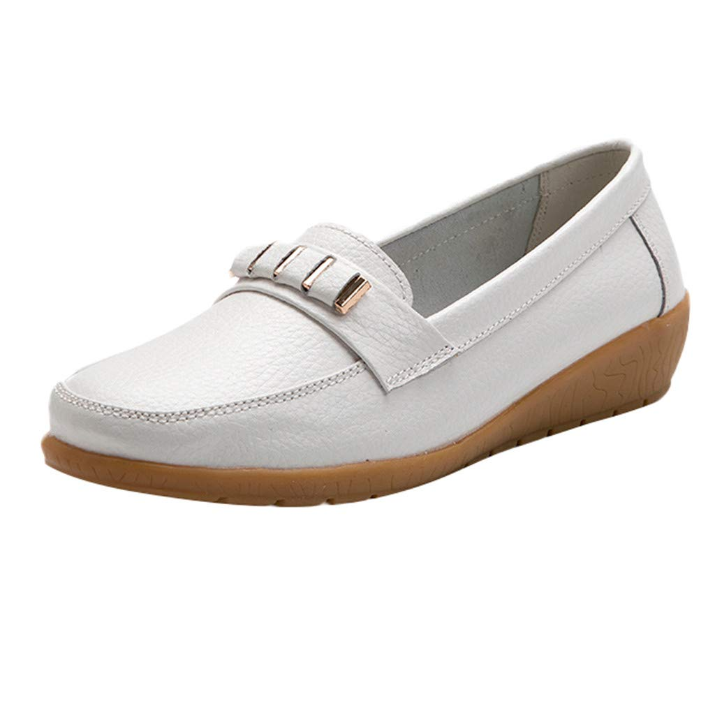 Women's Penny Loafers Casual Slip On Flats Comfort Driving Office Loafer Shoes Breathable Wild Round Toe Walking Flats Shoes (White, US:6.5)