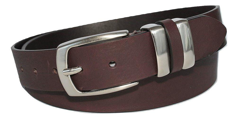 3,5cm Marrone Testa di Moro Vera Pelle Italiana Artigianale Made in Italy Unisex Accorciabile Cintura in Cuoio con Doppio Passante in Metallo ca ITALOITALY