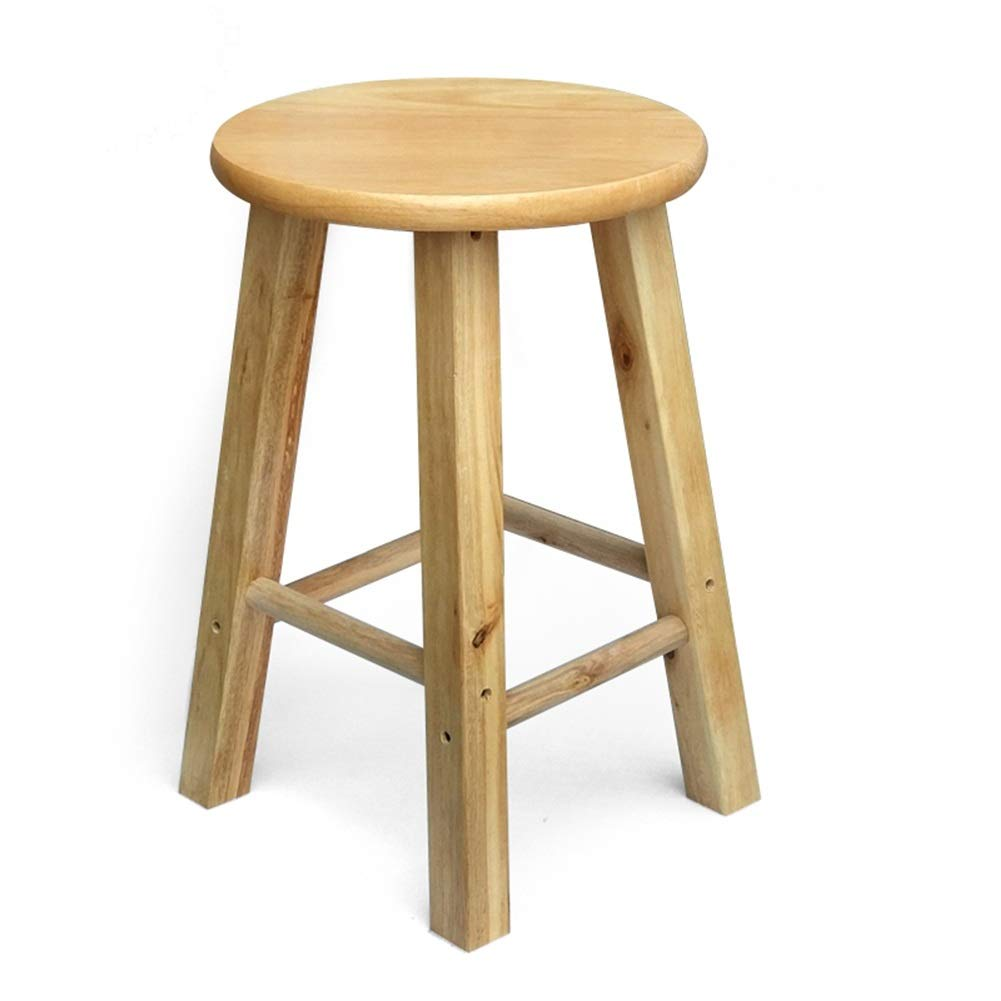 Wood color 45cm high ZHANGQIANG Wooden Round Stool, Stool for Kids with Comfortable Seat, Vintage Style Decor (color   Wood color, Size   25cm high)
