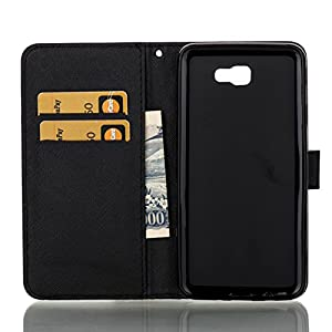 Galaxy J7 Prime Case, Galaxy On7 2016 Case, Firefish PU Leather Wallet Dual Layer [Card Slots] Kickstand Magnetic Clip Bumper Shell Perfect Fit for Samsung Galaxy J7 Prime/Galaxy On7 2016 -Skull
