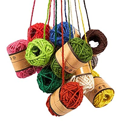 24-Roll Set of Jute Twine - Natural Twine Rope, Jute String, Twine String for DIY Crafts, Decoration, Embellishments, Random Assorted Colors - 11 Yards Per Roll : Office Products