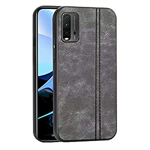Amazon Brand – Solimo Leather Mobile Cover (Soft & Flexible Back case), for Redmi 9 Power – Grey