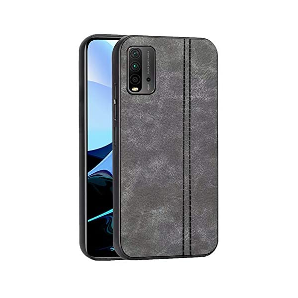 Amazon Brand - Solimo Leather Mobile Cover (Soft & Flexible Back case), for Redmi 9 Power - Grey 2021 July Compatible with model Redmi 9 Power Tear and slip-resistant Raised upper lip build design to help protect the screen against fall on a flat surface