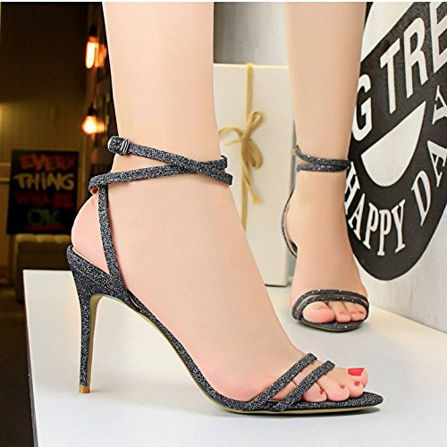 Xing Lin Summer Shoes For Women Wedges Summer Women'S Shoes Open Toe Glitter Thin Belt Hollow Cross Foot Buckle With High Heel Wild Roman Sandals Gray special PU Z9VwSpZ