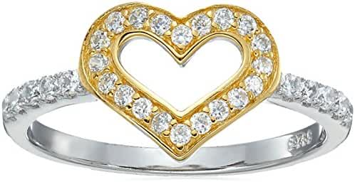 Two-Tone Gold Plated and 925 Sterling Silver AAA Cubic Zirconia Pave Heart, Size 7