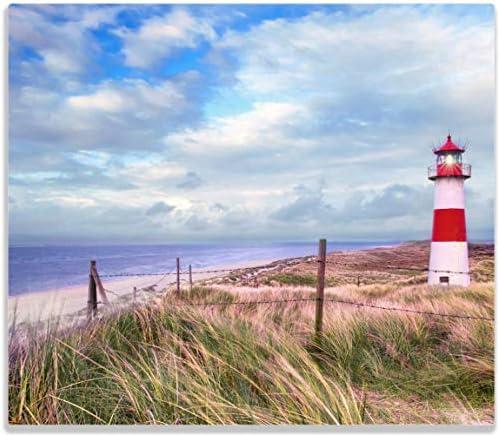 Wallario Herdabdeckplatte/Spritzschutz aus Glas, 1-teilig, 60x52cm, für Ceran- und Induktionsherde, Leuchtturm am Strand von Sylt
