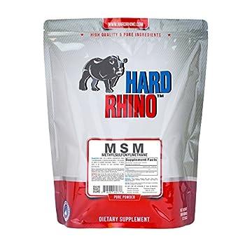 Hard Rhino MSM (Methylsulfonylmethane) Powder, 1 Kilogram (2.2 Lbs), Unflavored, Lab-Tested, Scoop Included