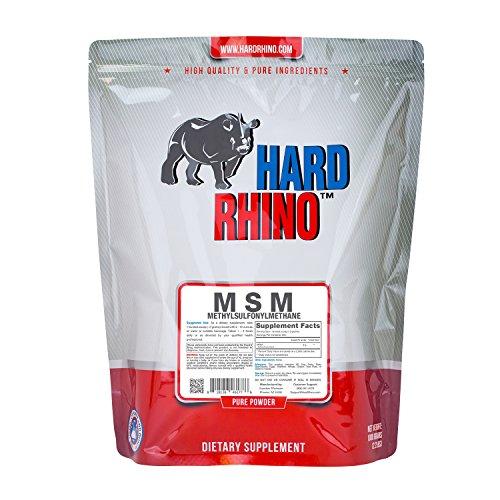 Hard Rhino MSM (Methylsulfonylmethane) Powder, 1 Kilogram (2.2 Lbs), Unflavored, Lab-Tested, Scoop Included (Horse Vitamins Msm)