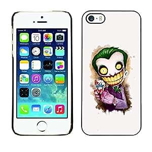 Caucho caso de Shell duro de la cubierta de accesorios de protección BY RAYDREAMMM - Apple iPhone 5 / 5S - Scary Clown White Face Big Teeth Skeleton