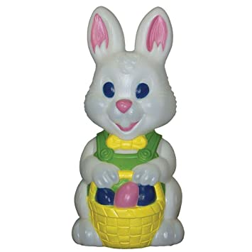 Light Up Easter Bunny Holding Basket With Decorated Eggs 18in Blow Mold Home