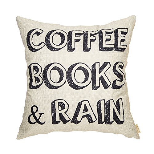Fahrendom Coffee Books and Rain Motivational Inspirational Quote Cotton Linen Home Decorative Throw Pillow Case Cushion Cover with Words for Book Lover Worm Sofa Couch 18 x 18 in