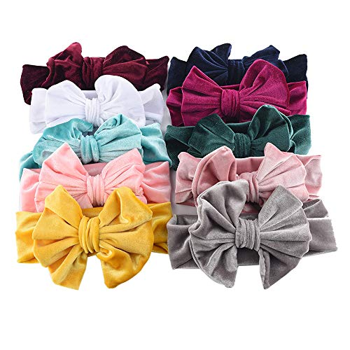Himtak 10PCS Boutique Velvet Stretch Bow Ear Turban Infant Headbans Baby Girls Headbands Feature: