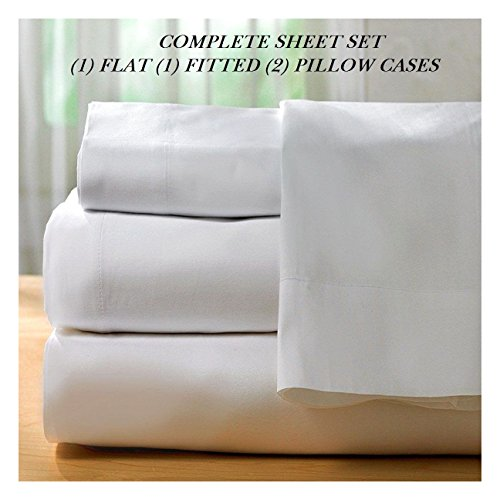 1 NEW WHITE COTTON QUEEN SIZE SHEET SET T300 PERCALE BEST FOR HOTELS DEEP POCKET BEDDINGS from Unknown