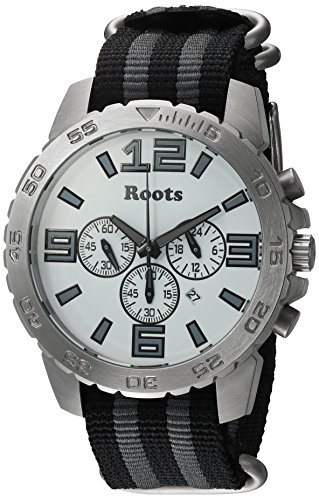 Roots Men's 'Core' Quartz Stainless Steel and Nylon Casual WatchMulti Color (Model: 1R-LF604WH7S)