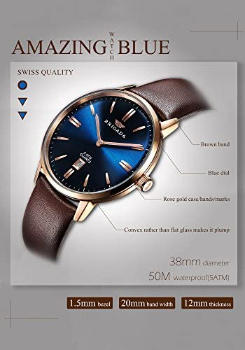 BRIGADA Swiss Brand Men s Dress Watches for Mature Men, Nice Business Casual Comfortable Leather Blue Brown Men Watches Waterproof with Date Calendar