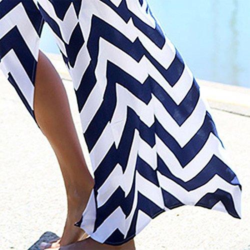 Mode feminine Boheme Wavy Stripe Robe imprimee a taille haute irreguliere Jupe