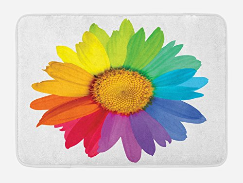 Daisy Flower Rug - Ambesonne Flower Bath Mat, Rainbow Colored Sunflower or Daisy Spring Inspired Image Hippie Style Modern Design, Plush Bathroom Decor Mat with Non Slip Backing, 29.5 W X 17.5 W Inches, Multicolor