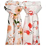 Muslin Swaddle Blankets for Baby,100% Cotton Muslin 47 x 47 inch Baby Blankets Cloth Diapers for Wrapping and Swaddling Infants, Pack of 2 (Flamingo & Orange Blossom.)