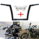 TTX-LIGHTING Glossy Black 12'' Rise APE Hanger 1 1/4'' Diameter Handlebar W/ 1'' Riser Top Clamp for Harley Touring Road Glide FLTR 2015-2019