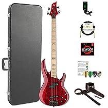 ESP LRB1004SMSTR-KIT-2 RB Series RB-1004SM STR 4-String Electric Bass, See Thru Red
