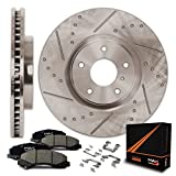 Max KH010631 Front Premium Slotted & Drilled Rotors with Ceramic Pads & Hardware Combo Brake Kit