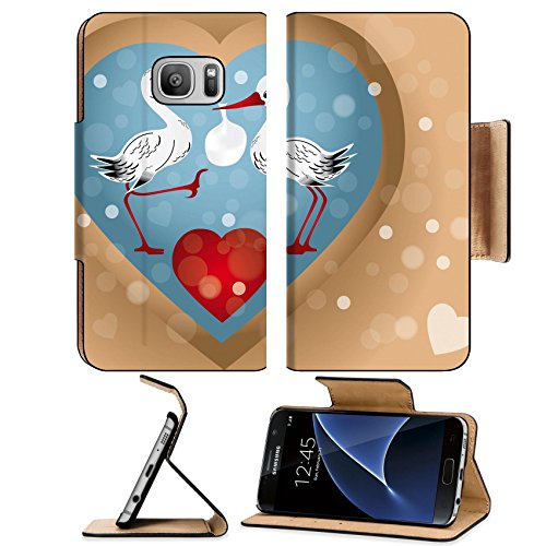 Luxlady Premium Samsung Galaxy S7 Flip Pu Leather Wallet Case IMAGE ID: 24018573 Two cute storks with bag baby arrival illustration with hearts bubbles in retro look eps 10 vectors