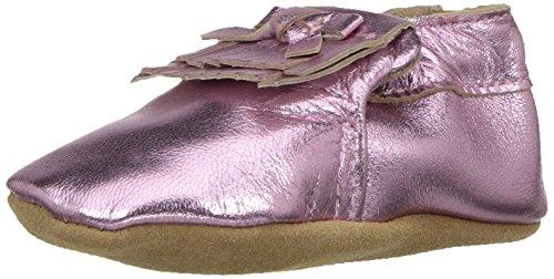 Robeez Girls' Leather Moccasins Slip-On, Mackenzie Metallic Pink, 18-24 Months M US - Moccasins Metallic