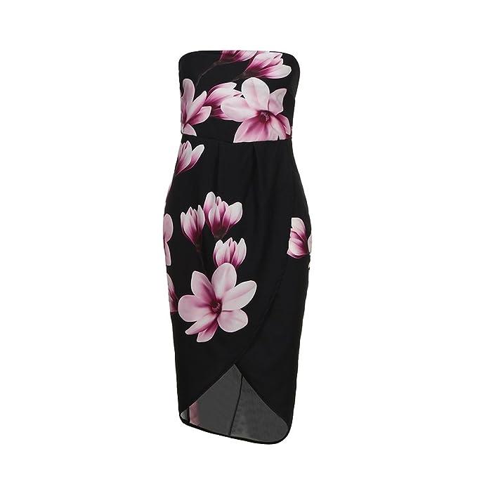 679c4afbd5e Hongyutela Womens Off The Shoulder Tube Top Floral Printed Boho Dress Open  Back Lady Beach Summer