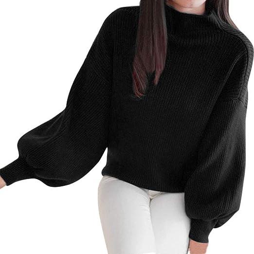 ae1c7d3a966 Clearance Sale! Pervobs Women Turtleneck Sweater Warm Lantern Long Sleeve  Loose Knit Sweater Jumper Outwear Top Blouse
