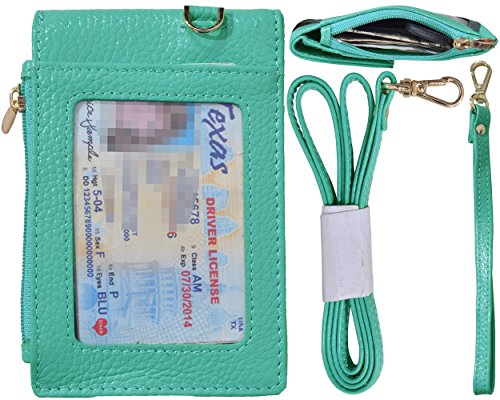 Beurlike Genuine Leather 2-Sided ID Badge Holder Wallet with 1 ID Window, 3 Card Slots with Cover, 1 Side Zipper Coin Pocket, 1 piece 18.1