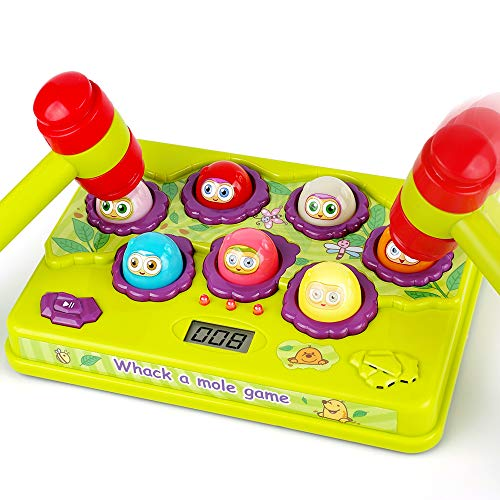 BAODLON Interactive Pound a Mole Game, Toddler Toys, Light-Up Musical Pounding Toy, Early Developmental Toy, Fun Gift for Age 2,3, 4, 5 Years Old Kids, Boys, Girls, 2 Soft Hammers Included