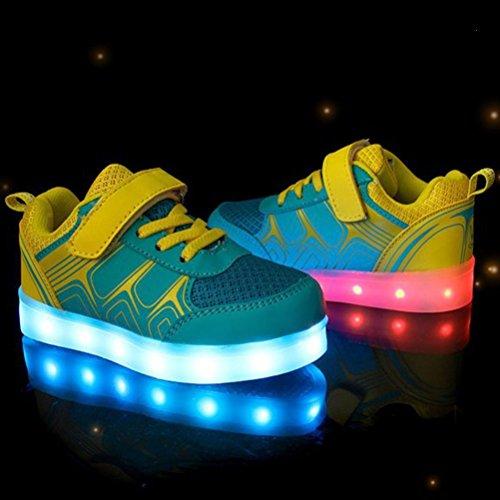 Colores Mujeres Zapatos de Unisex 7 Glow LED USB Sneakers Carga Luminosos Hombres Up Light Luz Presente c40 Toalla Deportivos junglest Flashing Pequeña XwqU0RR