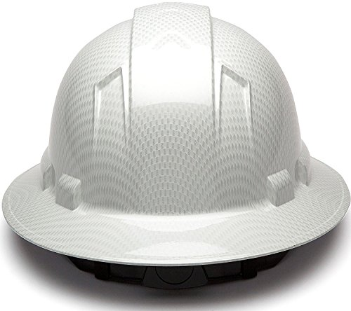 Full Brim Hard Hat, Adjustable Ratchet 4 Pt Suspension, Durable Protection safety helmet, Graphite Pattern Design, White Shiny, by Acerpal