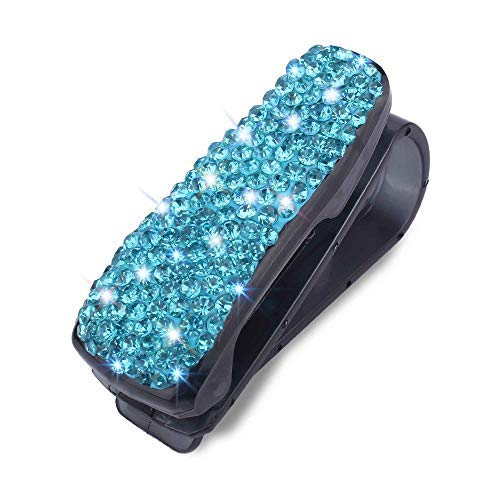 WINKA Rhinestone Car Sunglass Holder Clip Portable Auto Fastener Clip Universal All Eyeglasses Blue - Sun Rhinestone