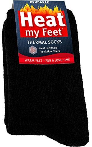 BRUBAKER Heat my Feet Thermal Socks - 2 Pairs - Black - Size: 12.5-14