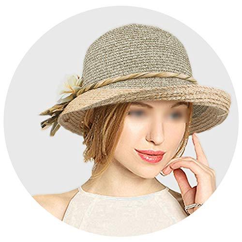 (Summer Hat Women Raffia Straw Cap Ladies Big Brim Sun Hat Hat Hat,Khaki,58Cm)