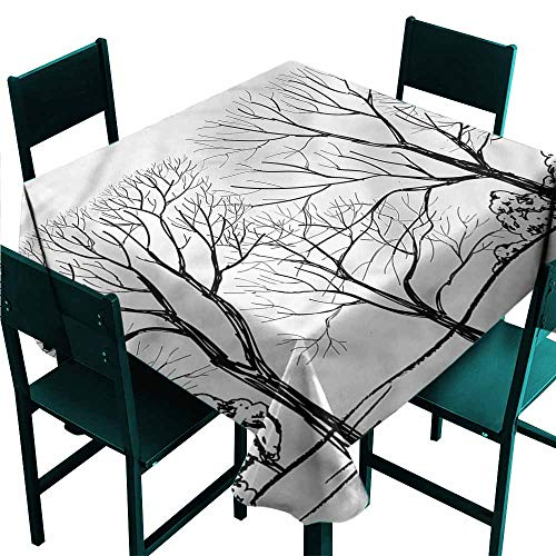 DONEECKL Waterproof Tablecloth Landscape Fall Tree Without Leaves Party W50 - Rosette Leaf Copper