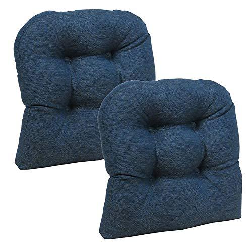 Klear Vu Omega Universal Tufted No Slip Dining Chair Pads, 2 Pack, Indigo